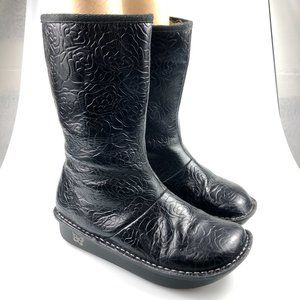 Alegria Womens Vale Rose Embossed Mid Calf Boots 8